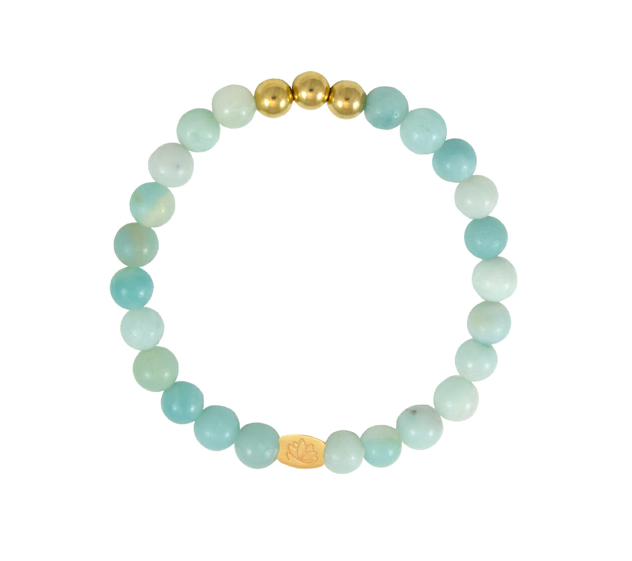 Mas Jewelz 6 mm Amazonite Gold
