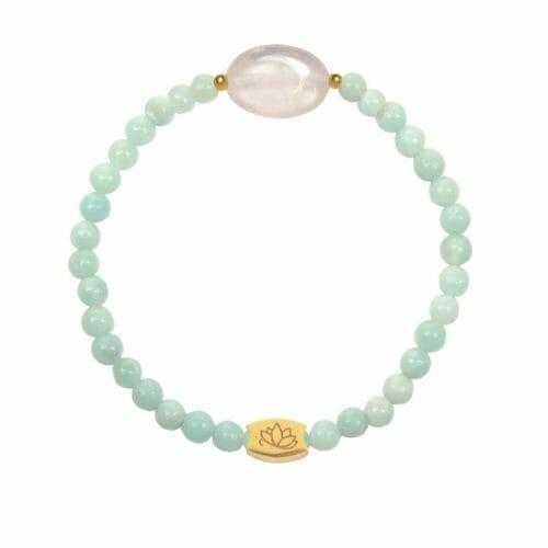 Mas Jewelz Amazonite bracelet with Rose Quartz oval Gold