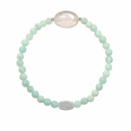 Mas Jewelz Amazonite bracelet with Rose Quartz oval Silver