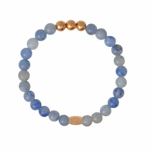 Mas Jewelz 6 mm Blue Quartz Rose gold