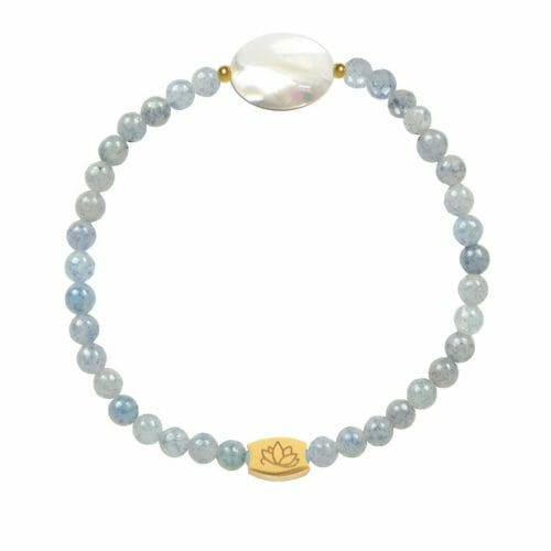 Mas Jewelz Blue Quartz bracelet with Mother of Pearl oval Gold