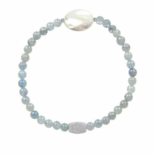 Mas Jewelz Blauquartz Armband mit Perlmutt Oval Silber