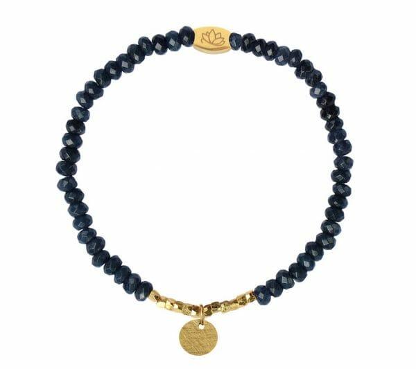 Mas Jewelz 3/4 Facet Blauwer Achat mit Nuggets und Münze Gold
