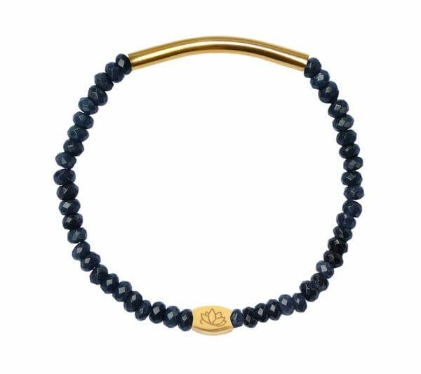 Mas Jewelz 3/4 Facet Blauwer Achat mit Röhrchen glänzend Gold