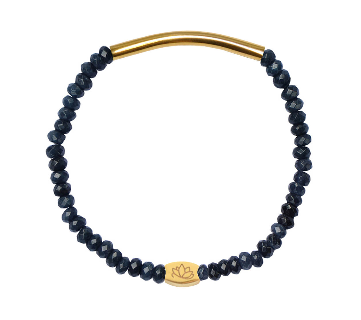 Mas Jewelz 3/4 Facet Blue Agate with Tube shiny Gold
