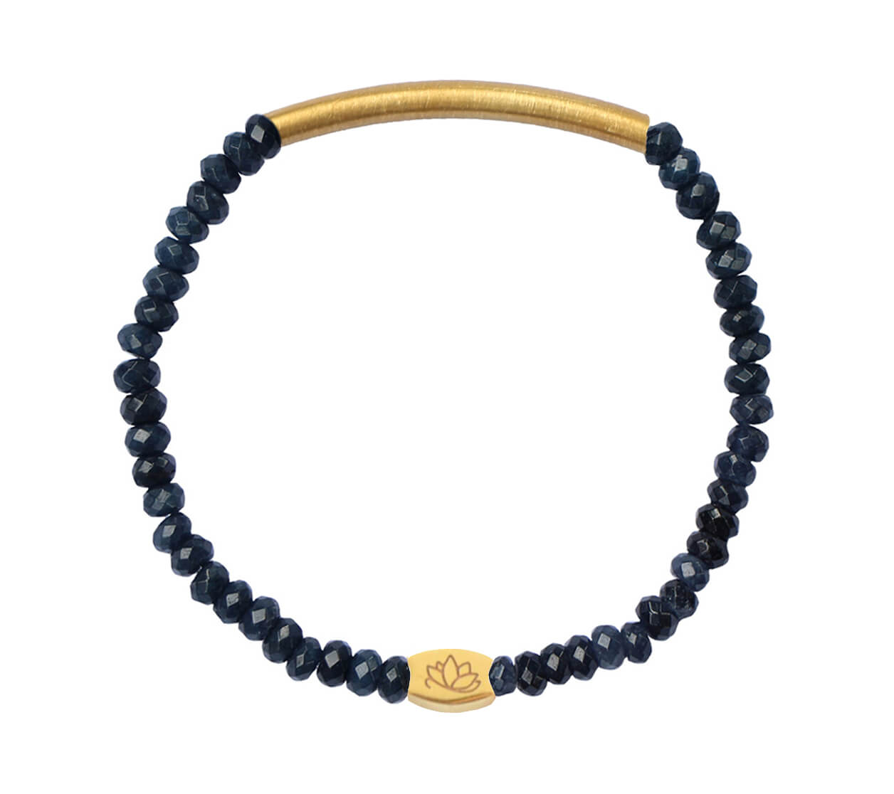 Mas Jewelz 3/4 Facet Blue Agate with Tube mat Gold