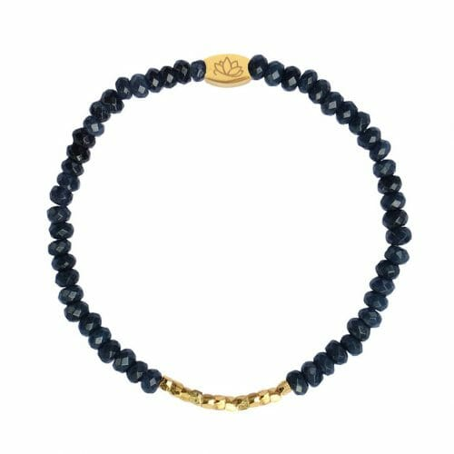 Mas Jewelz 3/4 Facet Blauwer Achat mit Nuggets Gold