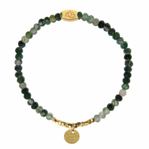 Mas Jewelz 3/4 Facet Moss Agate with Nuggets and Coin Gold