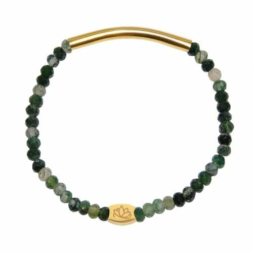 Mas Jewelz 3/4 Facet Moss Agate with Tube shiny Gold