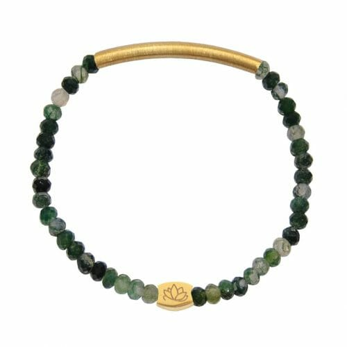 Mas Jewelz 3/4 Facet Moss Agate with Tube mat Gold