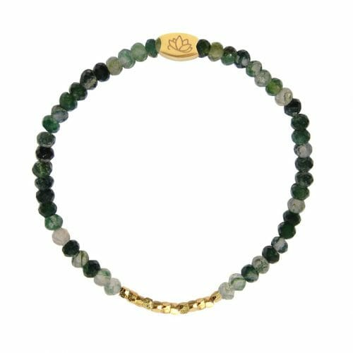 Mas Jewelz 3/4 Facet Moss Agate with Nuggets Gold