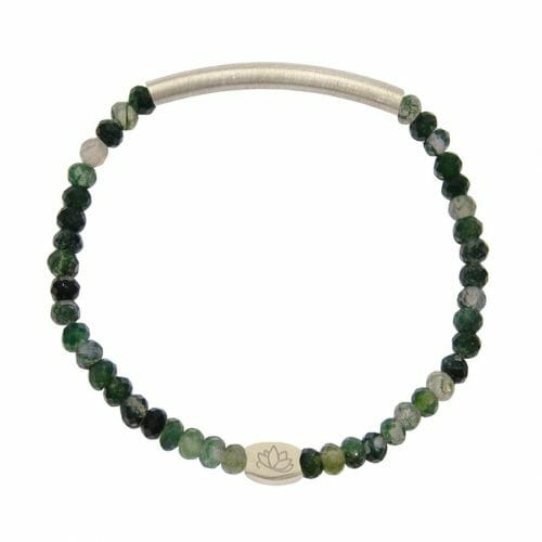 Mas Jewelz 3/4 Facet Moss Agate with Tube mat Silver