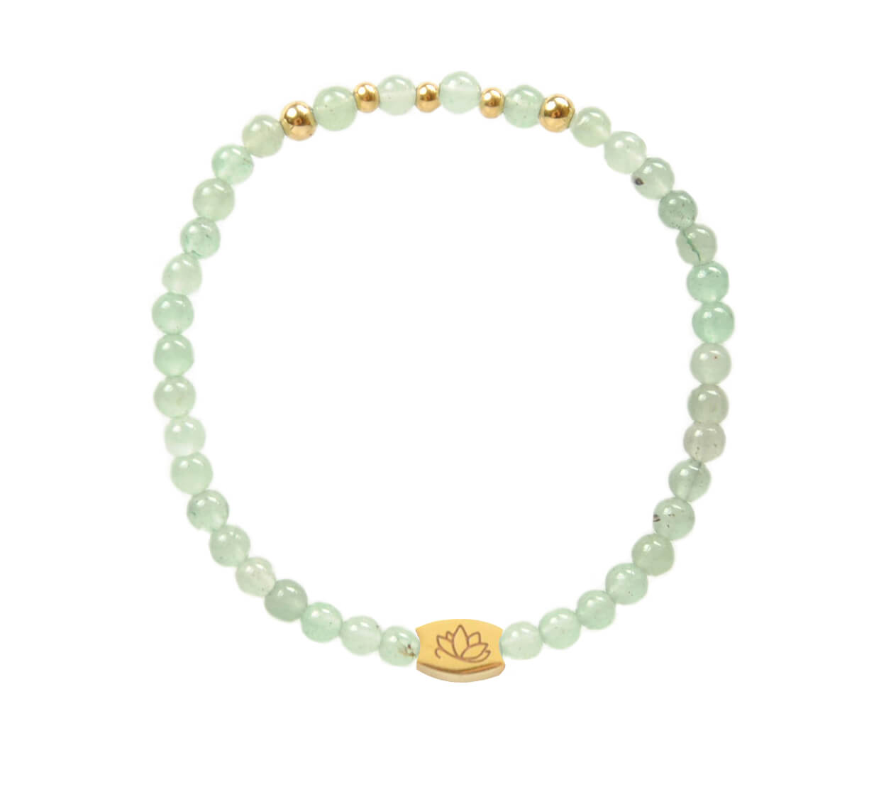Mas Jewelz 4 mm Green Aventurine Model 2 Gold