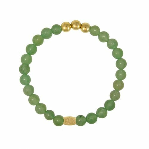 Mas Jewelz 6 mm Green Aventurine Gold