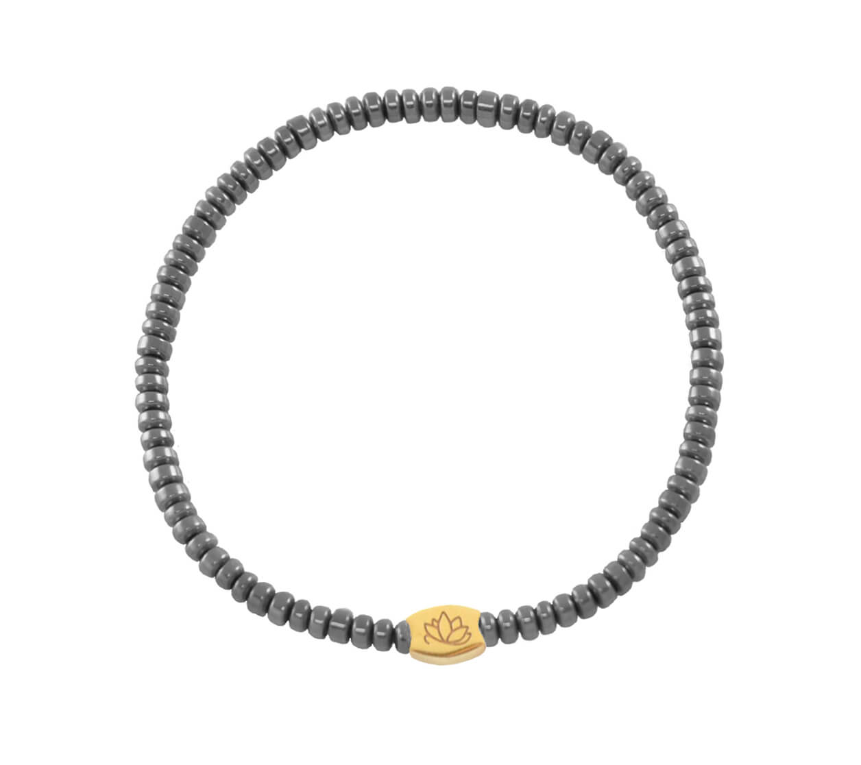 Mas Jewelz Donut Hematite grey Gold