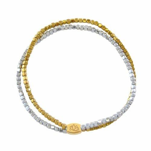 Mas Jewelz bracelet double Hematite Bicolor glans Gold