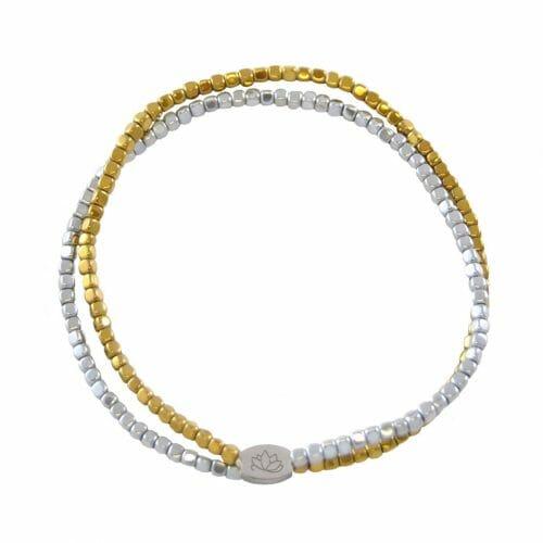 Mas Jewelz dubbele armband Hematiet Bicolor glans Zilver