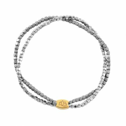 Mas Jewelz dubbele armband Hematiet Special Zilver Goud