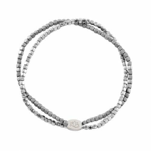 Mas Jewelz bracelet double Hematite Special Silver