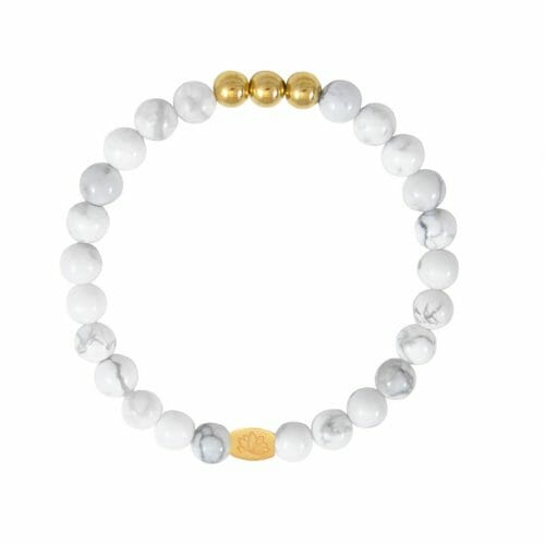 Mas Jewelz 6 mm Howlite Gold