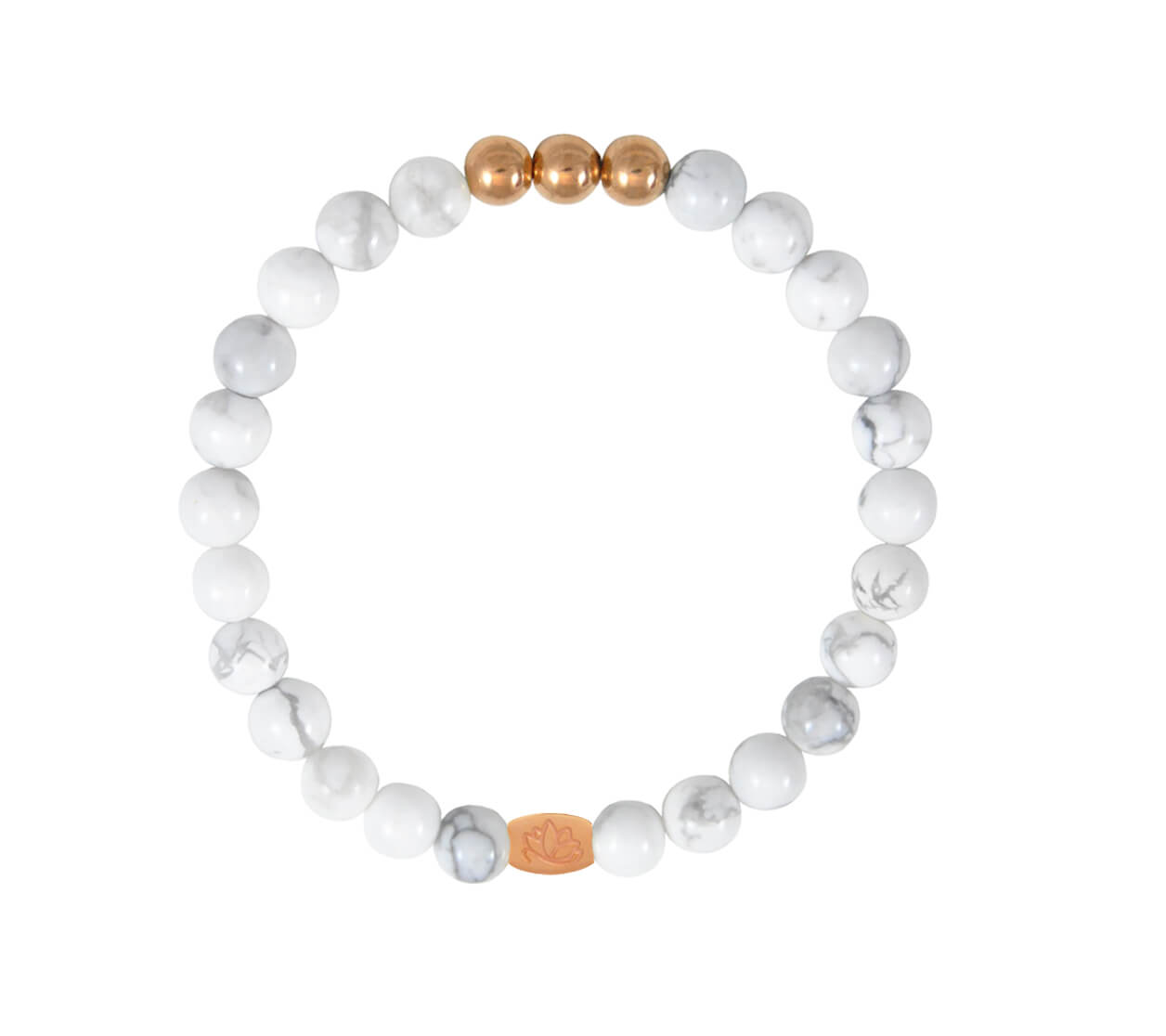 Mas Jewelz 6 mm Howlite Rose gold