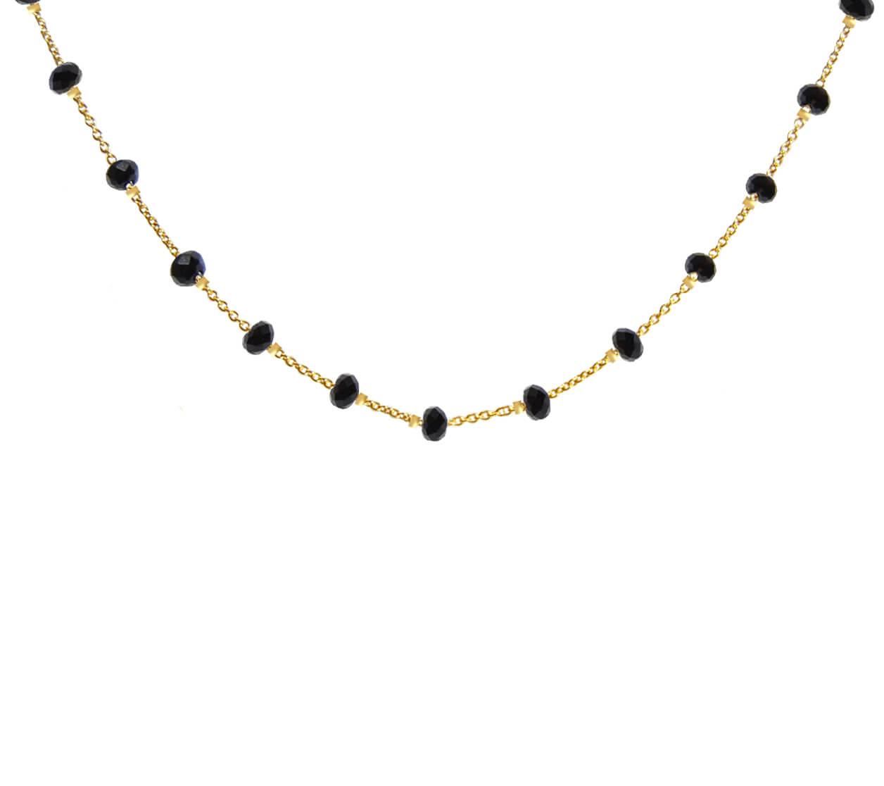 Mas Jewelz necklace Facet Blackstone 1 cm Gold