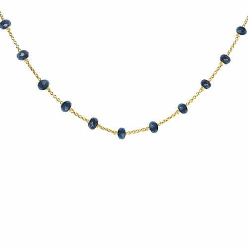Mas Jewelz necklace Facet Blauw 1 cm Silver