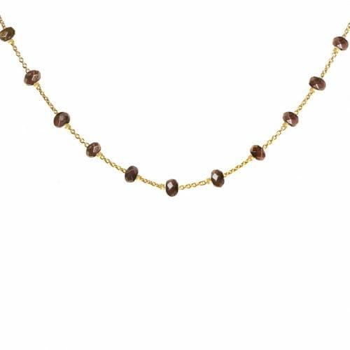 Mas Jewelz necklace Facet Smoked Topaz 1 cm Gold