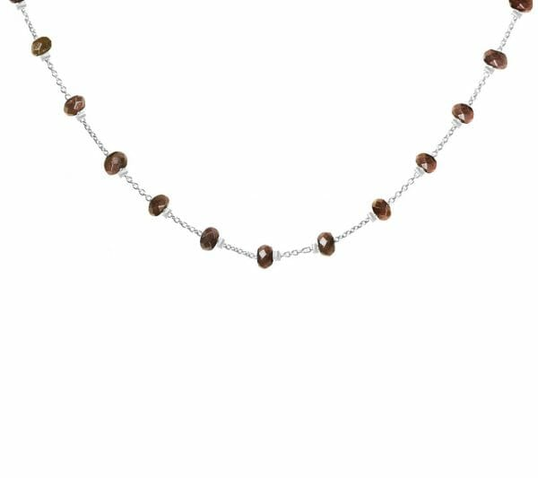Mas Jewelz necklace Facet Smoked Topaz 1 cm Silver