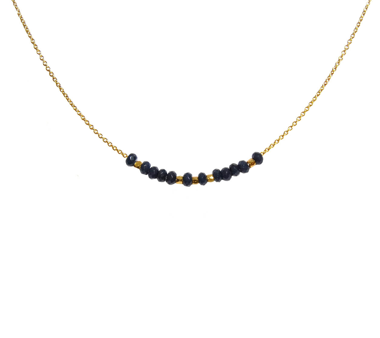 Mas Jewelz necklace 3/4 facet Blue Agate Gold