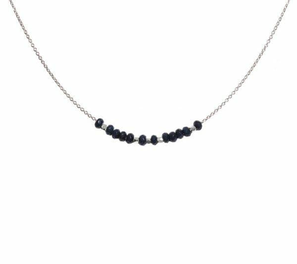 Mas Jewelz necklace 3/4 facet Blue Agate Silver
