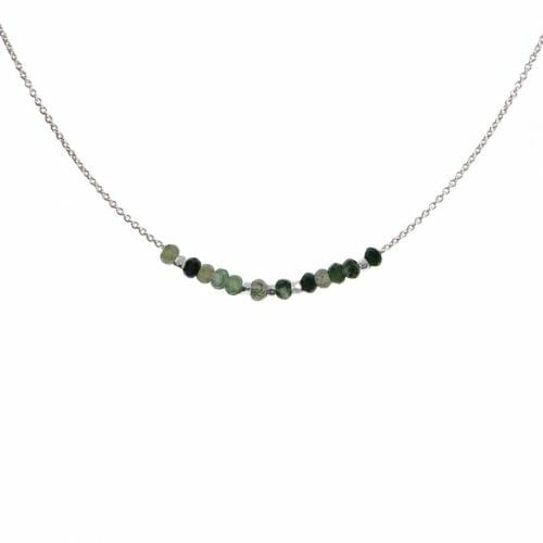 Mas Jewelz necklace 3/4 facet Moss Agate Silver