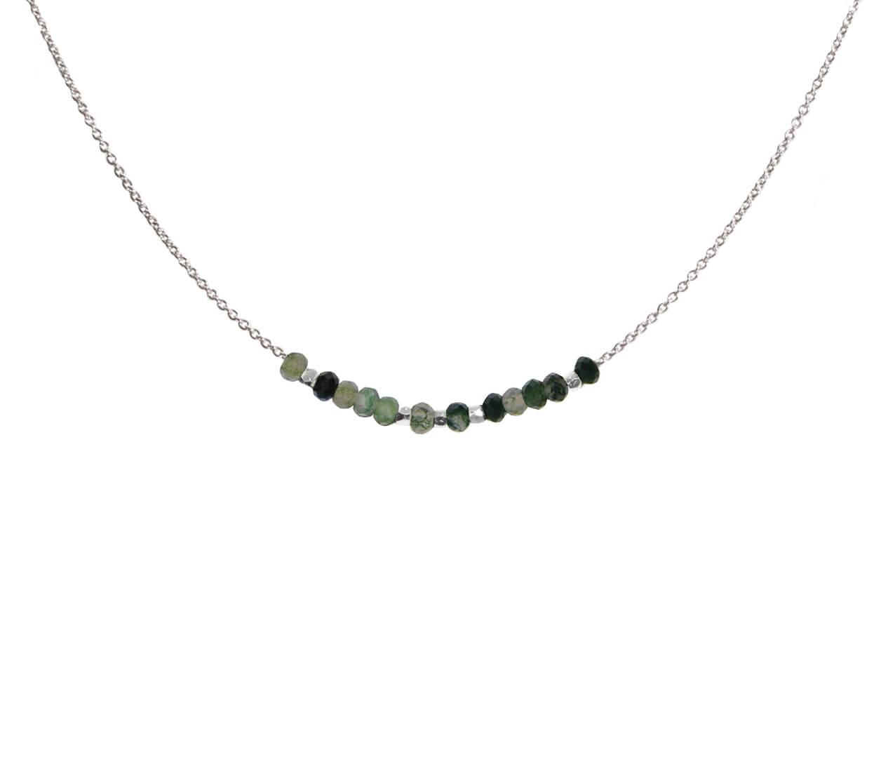 Mas Jewelz necklace 3/4 facet Moss Agate Silver