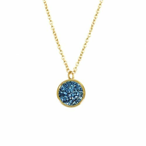 Mas Jewelz necklace Druzy Blue Gold