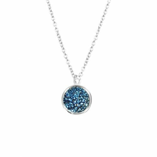 Mas Jewelz necklace Druzy Blue Silver