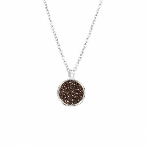 Mas Jewelz necklace Druzy Coffee Silver