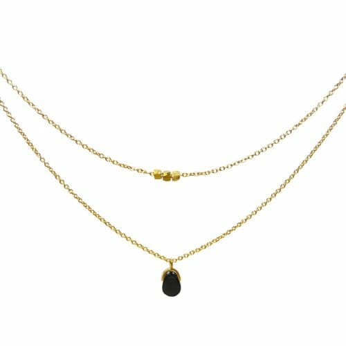 Mas Jewelz collier Bail Dubbel Blackstone Goud