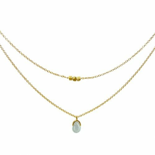 Mas Jewelz necklace Bail double Blue Quartz Gold