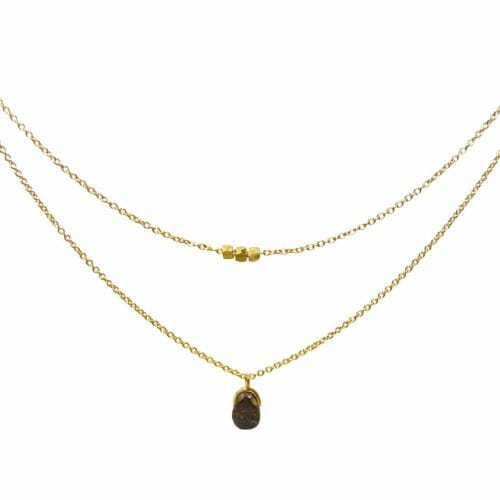 Mas Jewelz necklace Bail double Bronzite Gold
