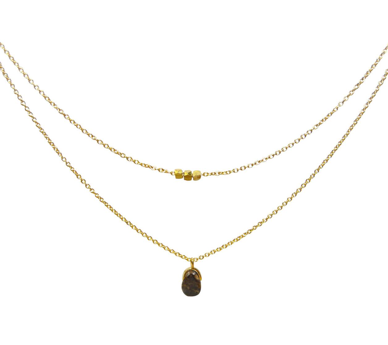 Mas Jewelz necklace Bail double Bronzite Gold