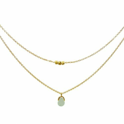 Mas Jewelz necklace Bail double Green Aventurine Gold