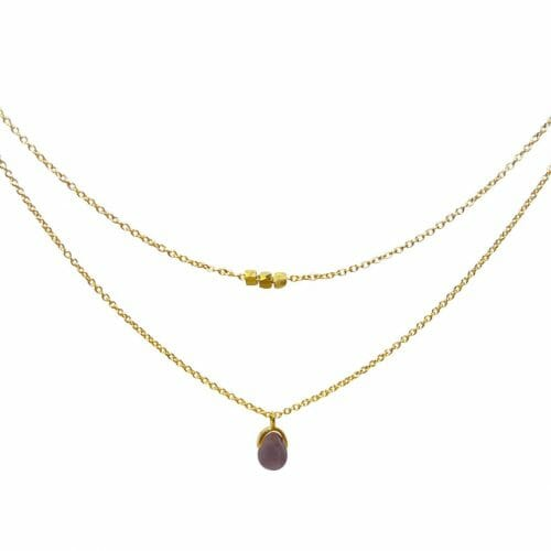Mas Jewelz necklace Bail double Purple Aventurine Gold