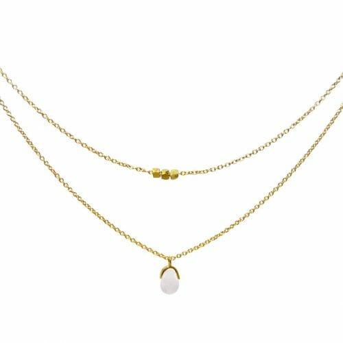Mas Jewelz necklace Bail double Rose Quartz Gold
