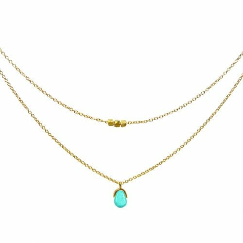 Mas Jewelz necklace Bail double Turquoise Gold