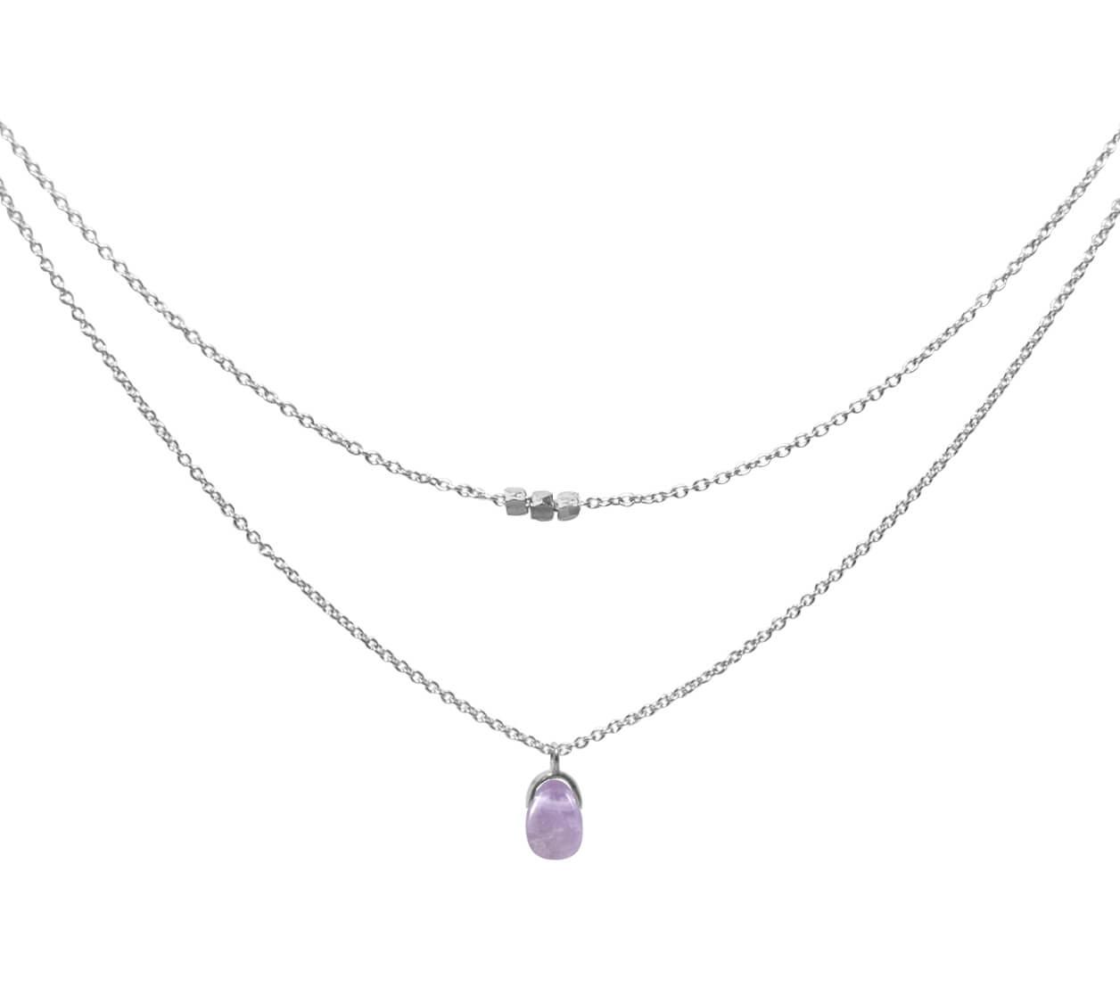 Mas Jewelz necklace Bail double Light Amethyst Silver