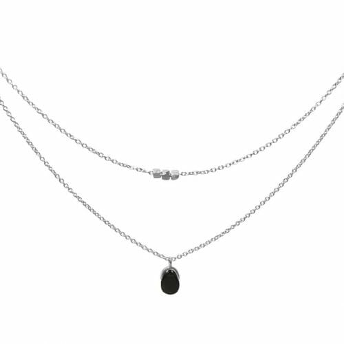 Mas Jewelz necklace Bail double Blackstone Silver