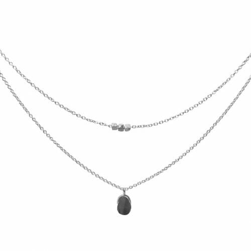 Mas Jewelz necklace Bail double Hematite Silver
