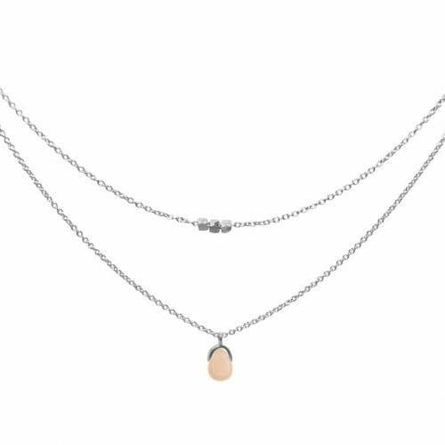 Mas Jewelz necklace Bail double Pink Opal Silver