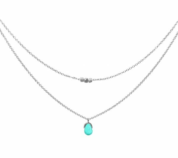 Mas Jewelz necklace Bail double Turquoise Silver