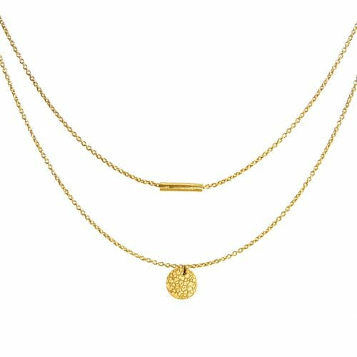 Mas Jewelz necklace with hammered Coin double Gold